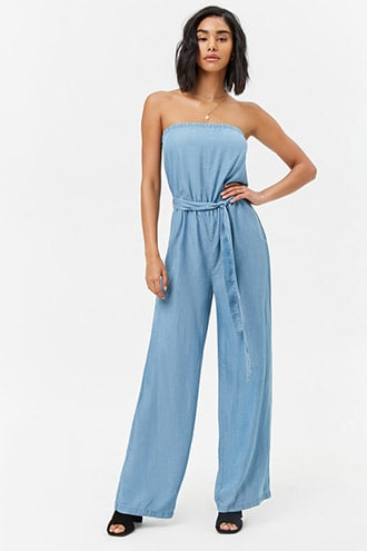 ed2f3052988 Strapless Chambray Jumpsuit