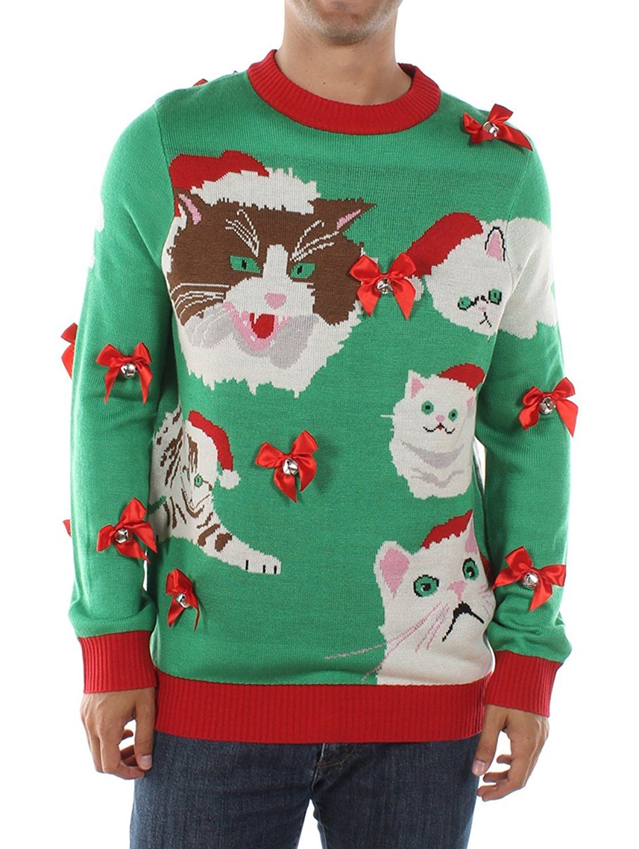 tipsy elves mens crazy cat man ugly christmas sweater medium at amazon mens clothing store - Amazon Christmas Sweater