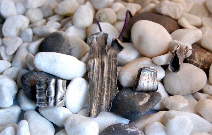 Conjunto de plata de ley con texturas reales del olivo  de mi jardin. www.lahabitacionmisteriosa.com