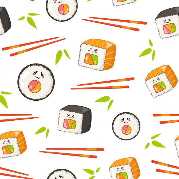 Kawaii Sushi, Rolls, Chopsticks, Bamboo Leaves - Seamless Pattern Or Background, Cartoon Emoji