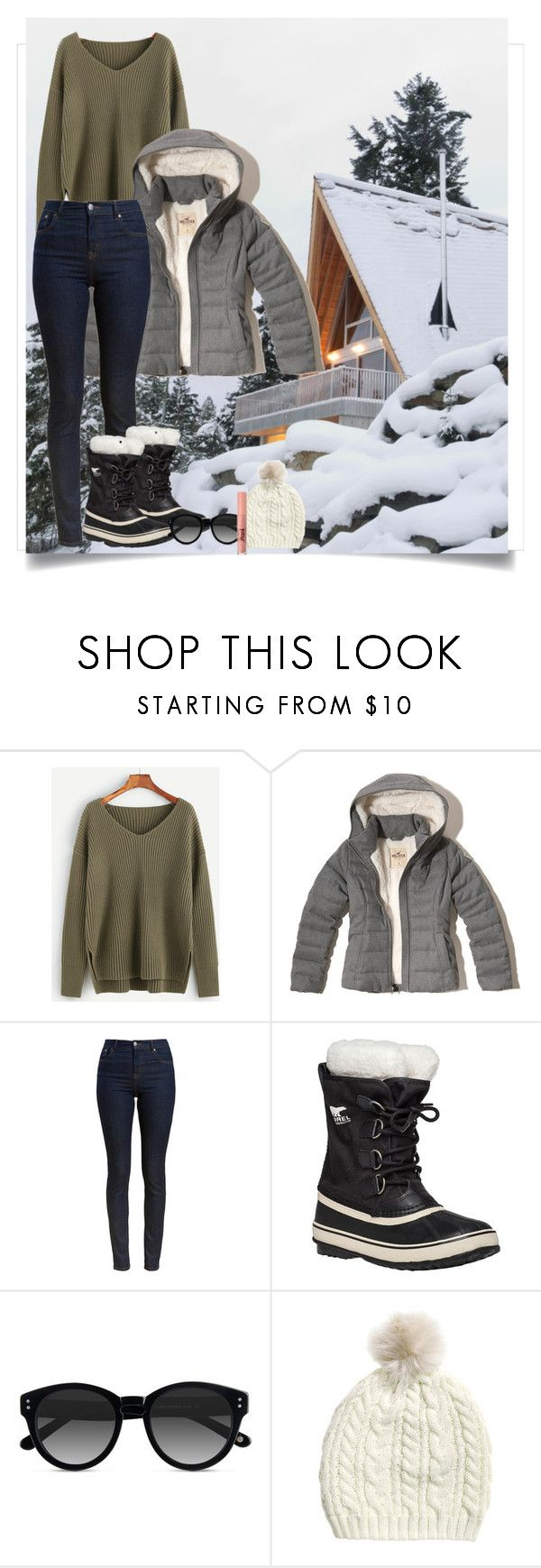 """#dressitjessistyle"" by jesswyatt ❤ liked on Polyvore featuring Hollister Co., Barbour, SOREL, Ace and Too Faced Cosmetics"
