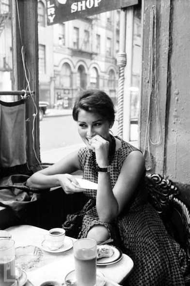 """Sophia Loren, New York City, 1958, photo by Peter Stackpole """"I was born wise. Street-wise, people-wise, self-wise. This wisdom was my birthright. I was also born old. And illegitimate. But the two big advantages I had at birth were to have been born wise and to have been born in poverty… I was not intrigued with the accouterments of success and fame, the furs, jewels, expensive automobiles and mansions… I can assure you that these things were not on my mind when I sat spellbound in that…"""