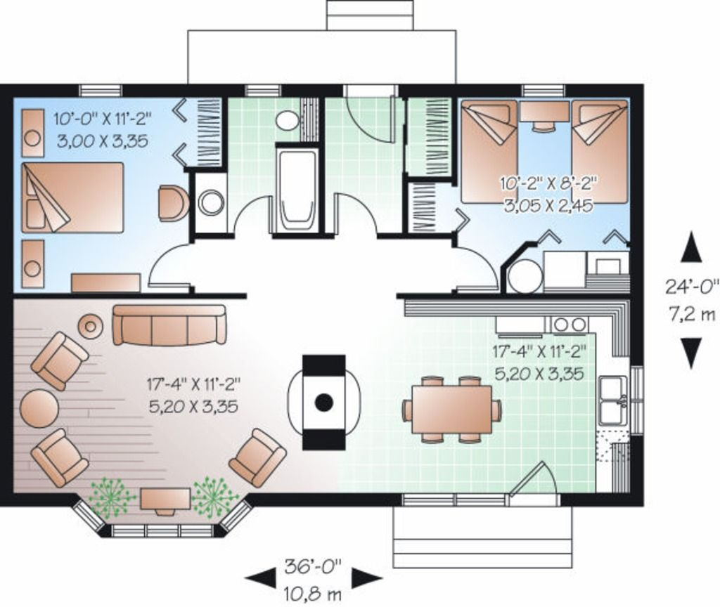 Traditional Style House Plan 2 Beds 2 Baths 1274 Sq Ft Plan 20 1597 Unique House Plans Loft Floor Plans House Plans