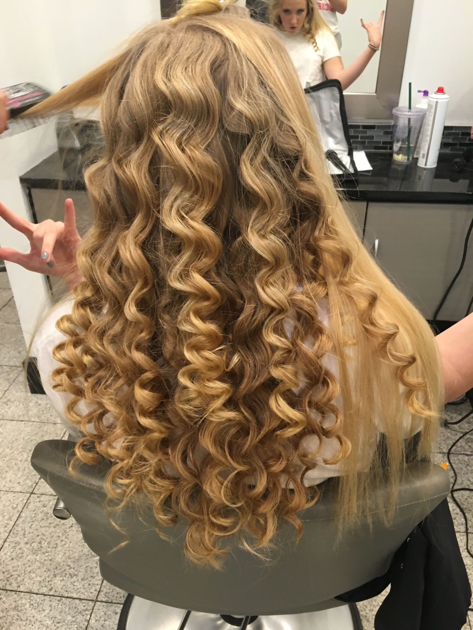 Super Straight Hair Made Curly With A Tapered Curling Wand For A