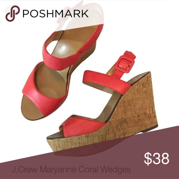 J crew coral wedges Coral j crew platform wedges. Cork bottoms. Worn only once. Very comfortable and really cute for summer! J. Crew Shoes Wedges