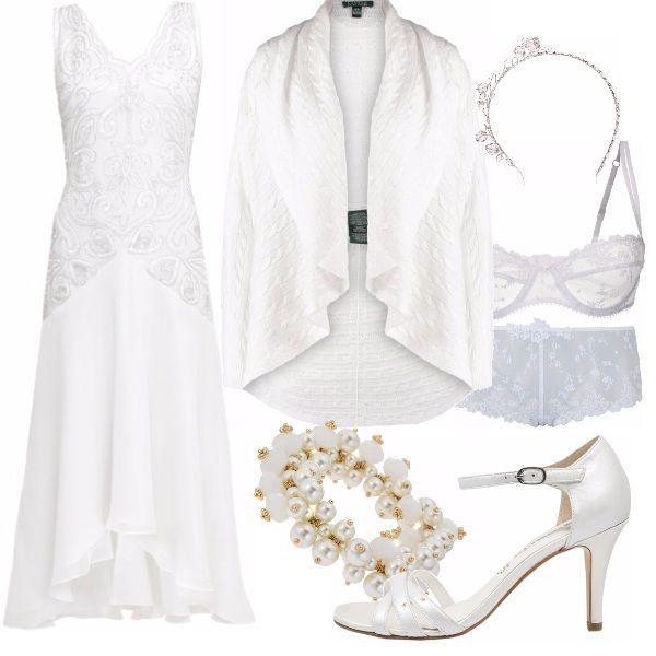 Anche se si è la sposa, non c'è più bisogno dell'abito da sposa per essere una sposa.... un vestitino bianco  con dettagli di pizzo, un coprispalle da poter togliere fuori dalla chiesa -o magari una volta che si è lasciati il giardino dove si è tenuta la cerimonia (così trendy!), se arricchiti da particolari romantici- come la biancheria di pizzo o i semplici gioielli che ci illumineranno con i loro punti-luci- saranno rendere  semplici accostamenti perfetti per il nostro giorno più bel #magariungiorno