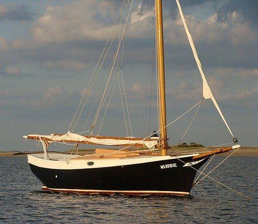 1982 Bolger Gaff Sloop. Strip plank. Yanmar. Triple keel for dry-out mooring. 22 ft LOD 1.5 ft draft.