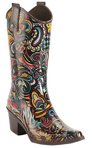 Beehive® Rain Bops™ Ladies Multi Colored Art Fusion Cowgirl Rain ...