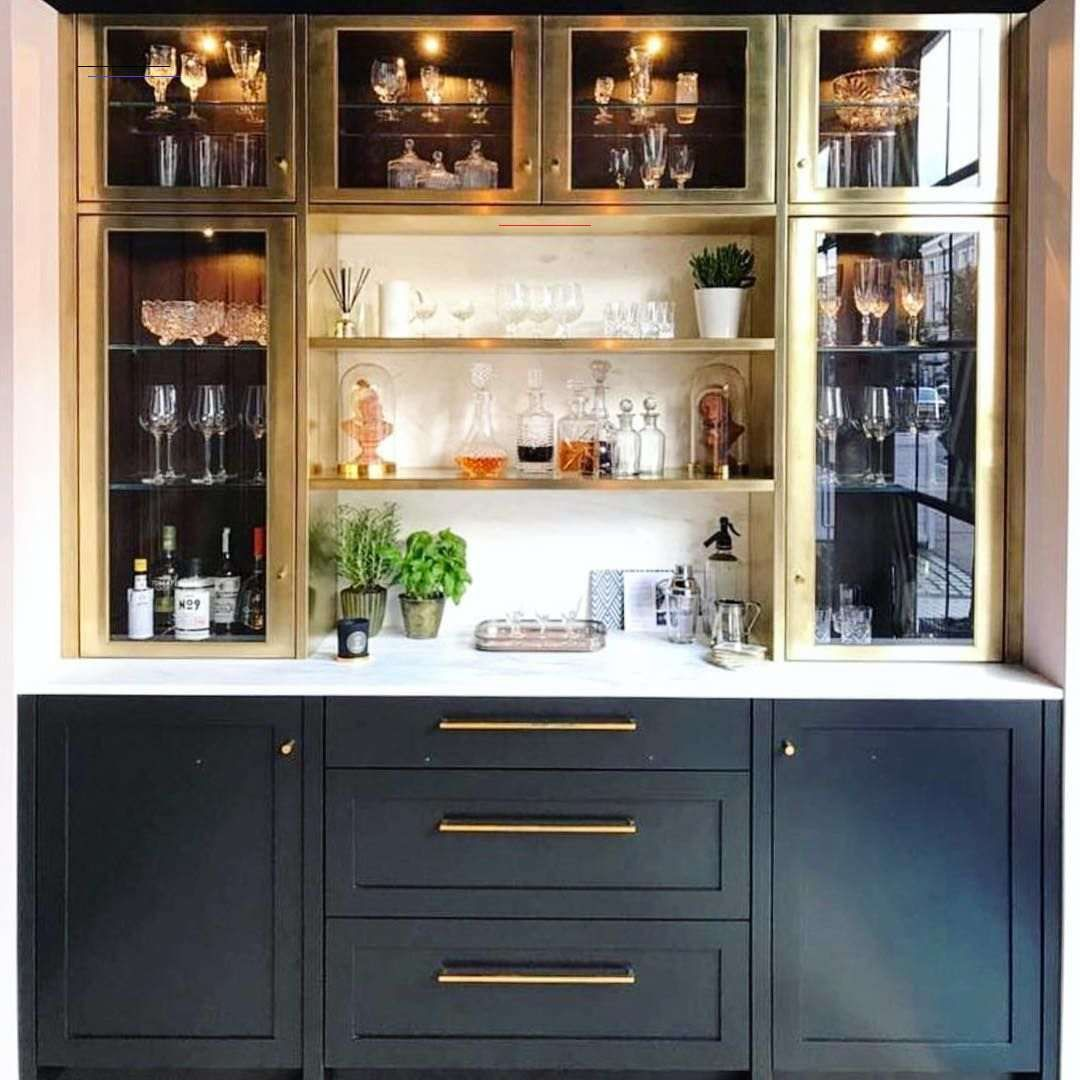 The Potted Boxwood On Instagram These Brass Cabinets Give All The Inspiration Having A Serious British Kitch Kitchen Bar Design Bars For Home Home Bar Decor