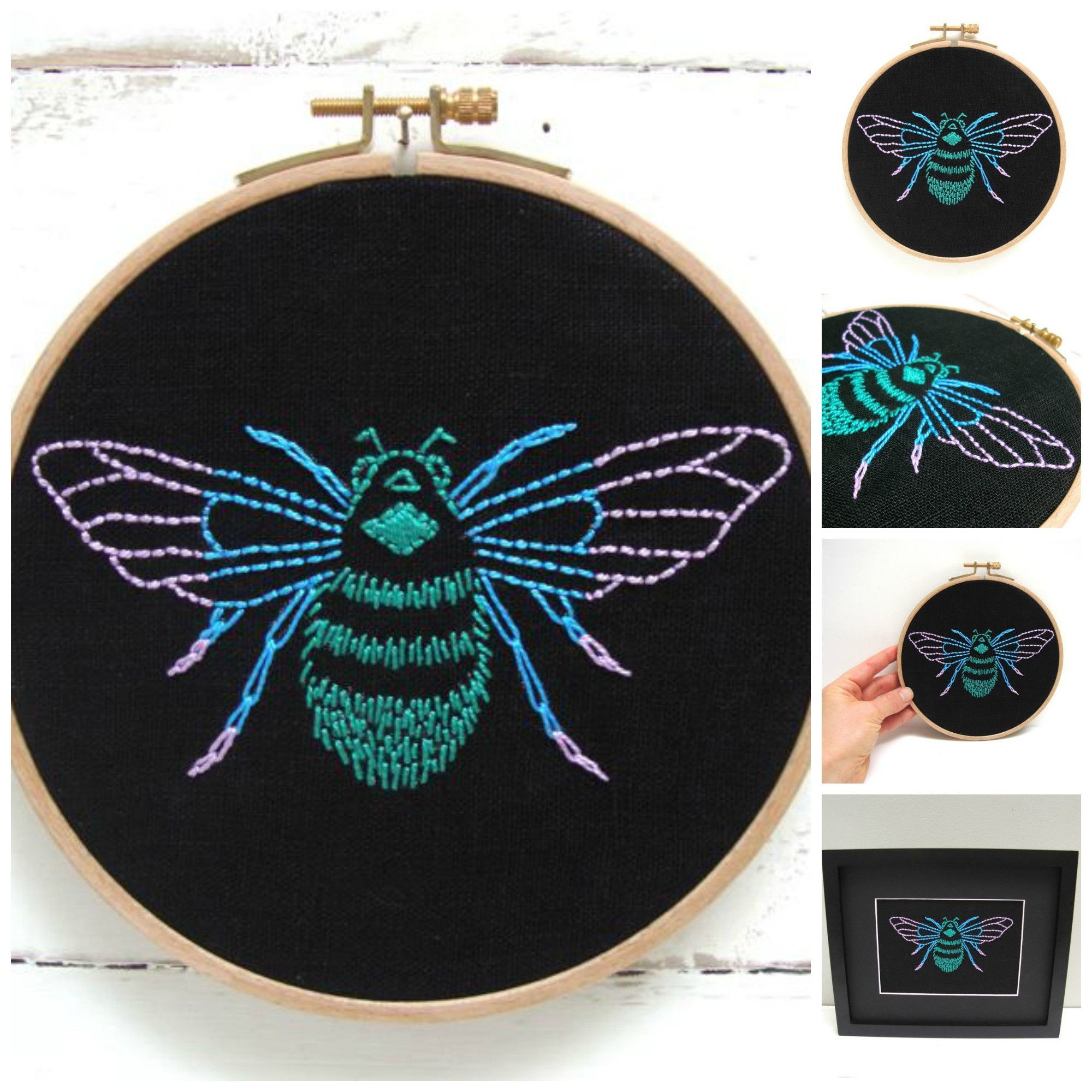 DIY embroidery hoop art kit! Stitch your way to bliss with this bumblebee…