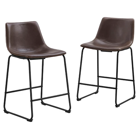 Wondrous Saracina Home Faux Leather Counter Stools Set Of 2 In 2019 Ibusinesslaw Wood Chair Design Ideas Ibusinesslaworg