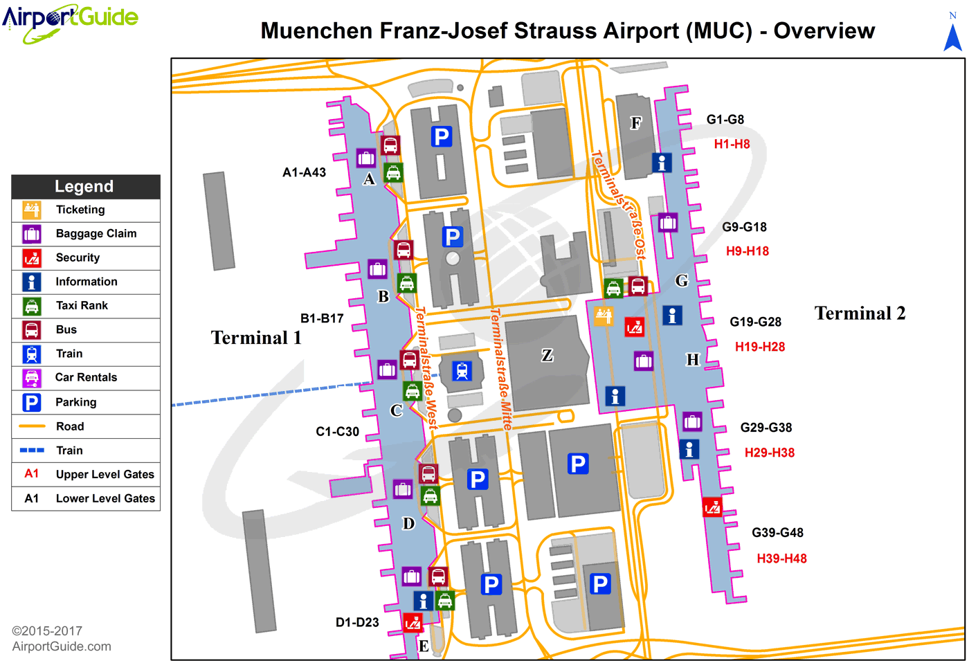 map of munich airport terminal 2 Munich Munich International Muc Airport Terminal Map map of munich airport terminal 2