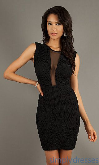 Short Sleeveless Black Dress at SimplyDresses.com