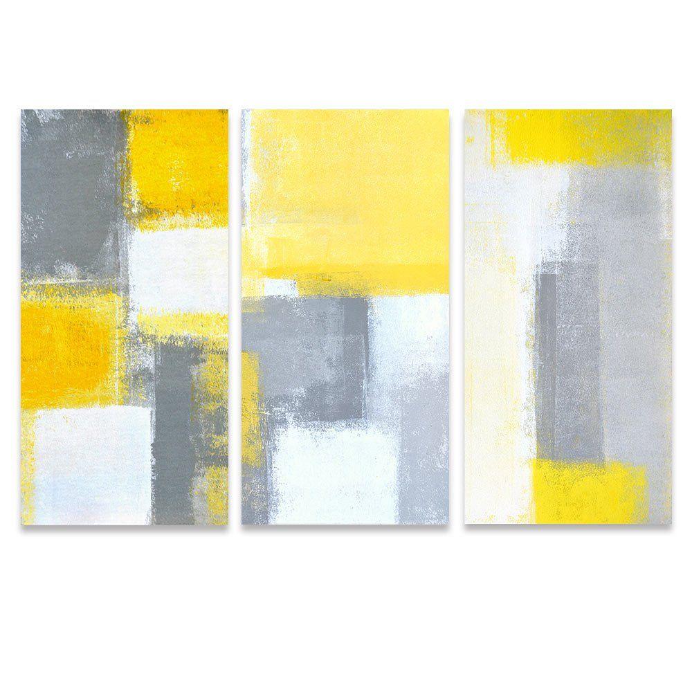SUMGAR Abstract Wall Art Yellow and Grey Paintings on Canvas Wall ...