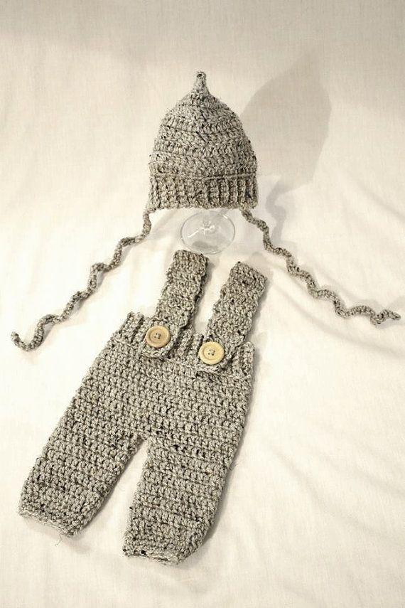 Pixie bonnet - Pants with Suspenders - Newborn - Toddler - Crochet ...