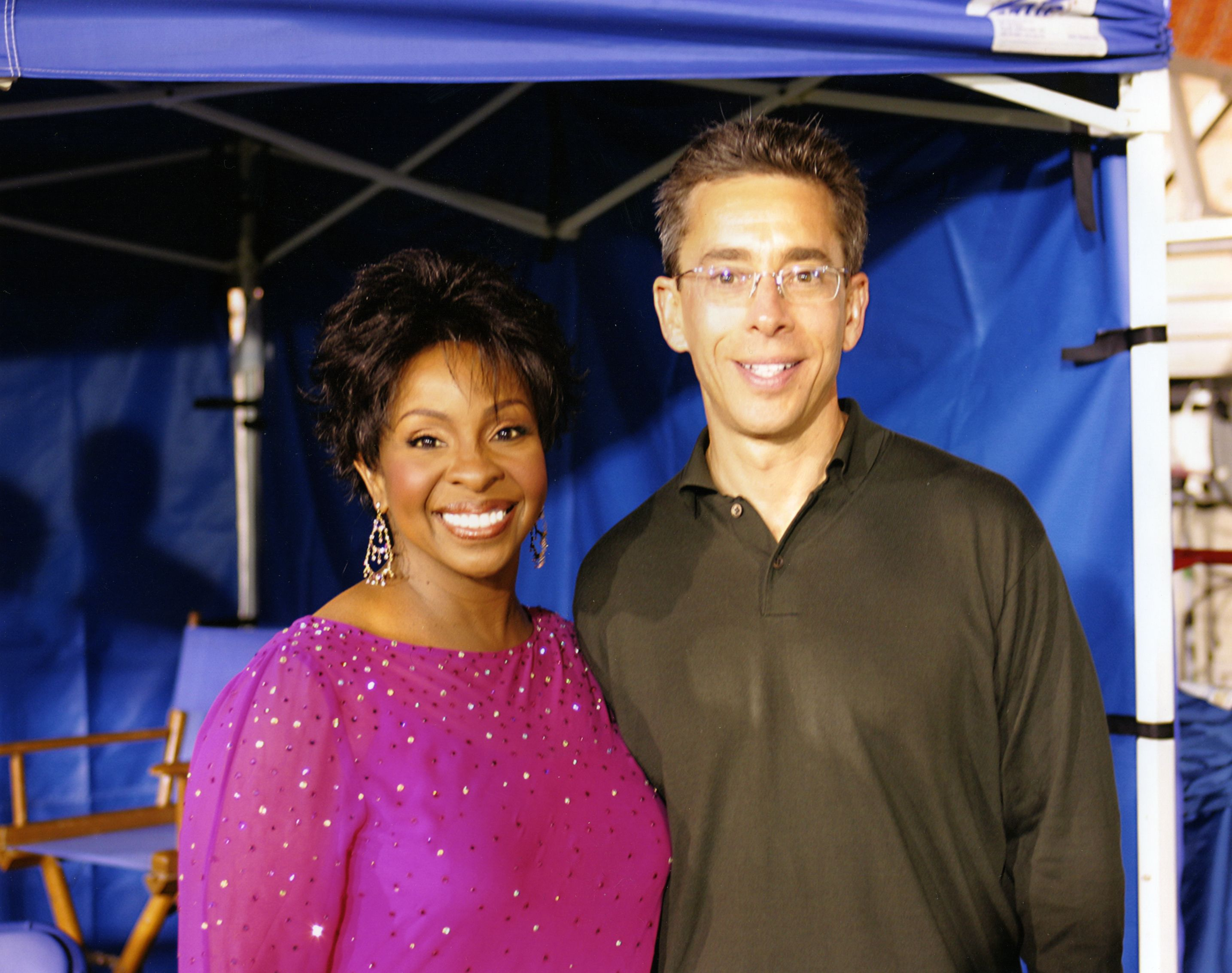 Gladys Knight, star of our spot, and yours truly, shot on the UCLA field that doubled for Twickenham Stadium, home of England Rugby.
