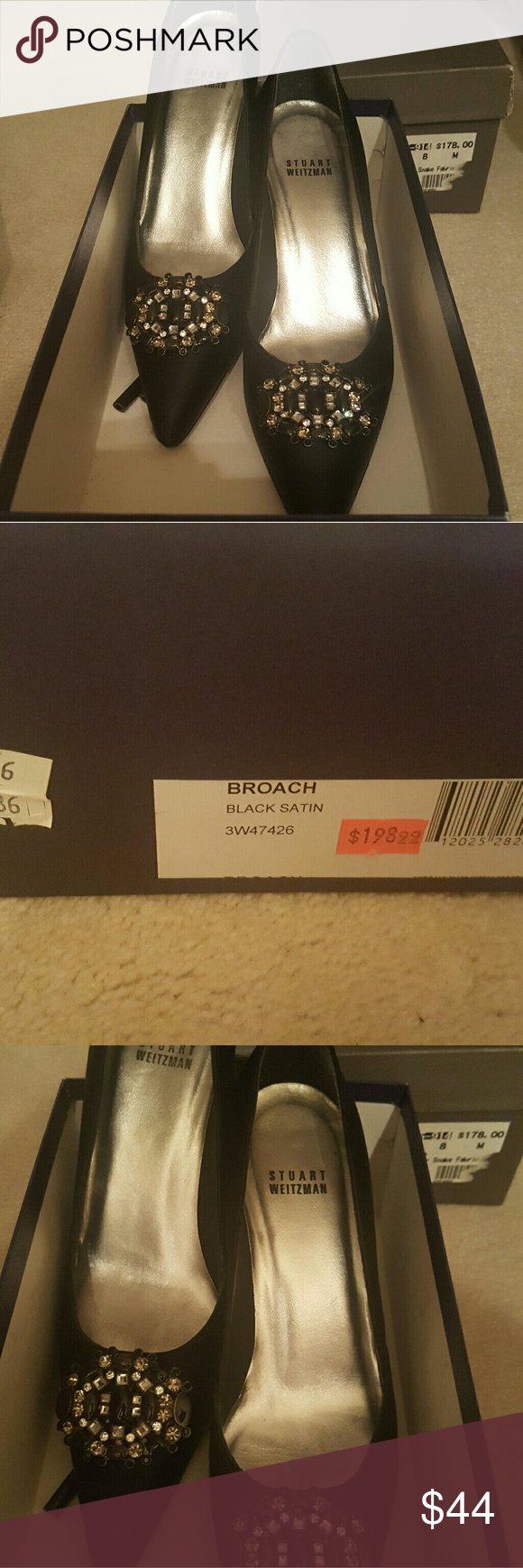 Stuart Weitzman broach black satin pump Perfect condition Stuart Weitzman Shoes Heels