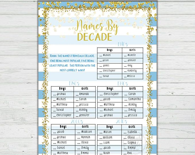 Blue and Gold Baby Shower Game - Names By Decade Answer Key