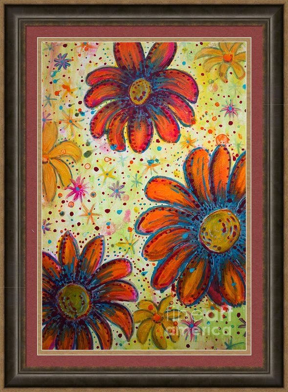 Flower Power Framed Print By Jacqueline Athmann Unique home decor for your favorite rooms! Trendy, priced right and great conversation pieces!  Pick your mat colors, frame and create your favorite piece for your favorite room!