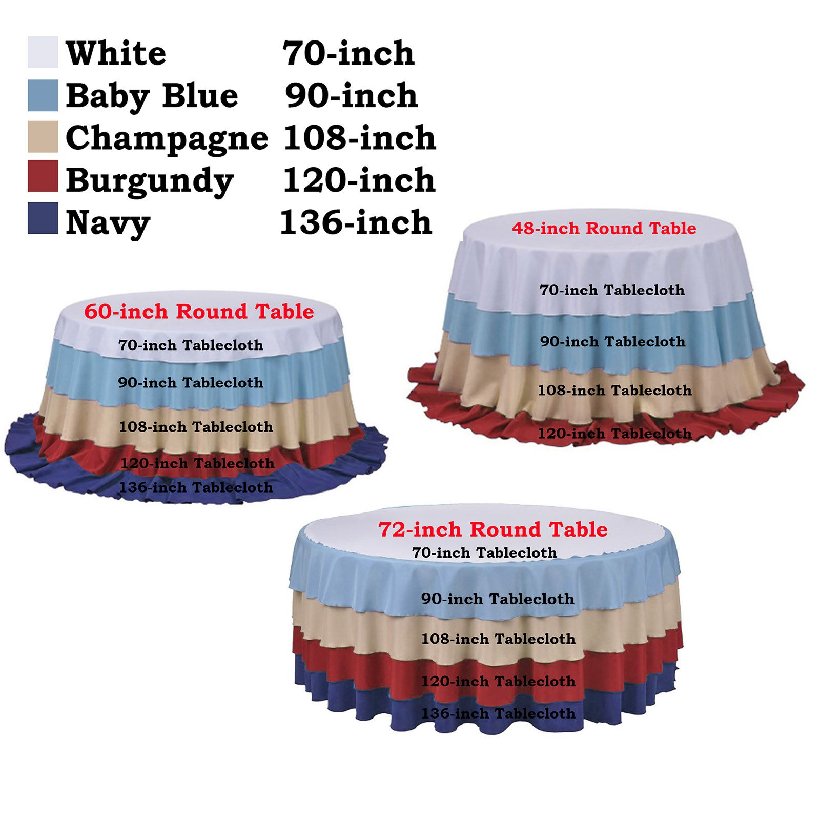 Details About 70 Round Polyester Tablecloth For Wedding Party