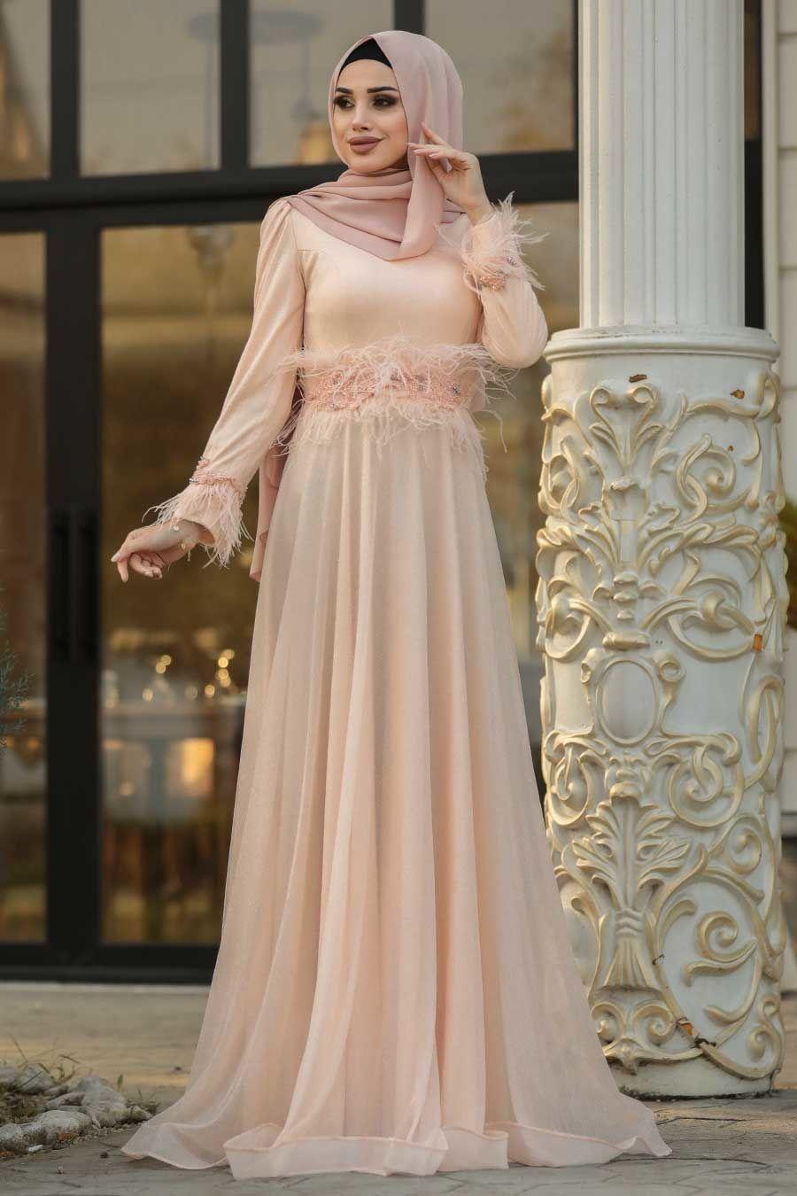 Tesetturlu Abiye Elbise Puskullu Somon Tesettur Abiye Elbise 3934smn Tesetturisland Com Gelinlik The Dress Moda Stilleri
