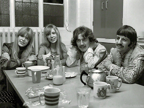 George, Ringo, and wives