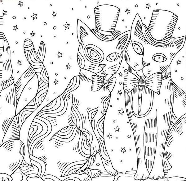 Cats Colouring Page Adult Coloring Animals