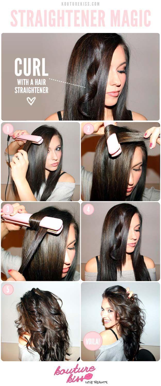 Hair Straightening Tutorials  DIY Hair Straightener Curls  Looking ...