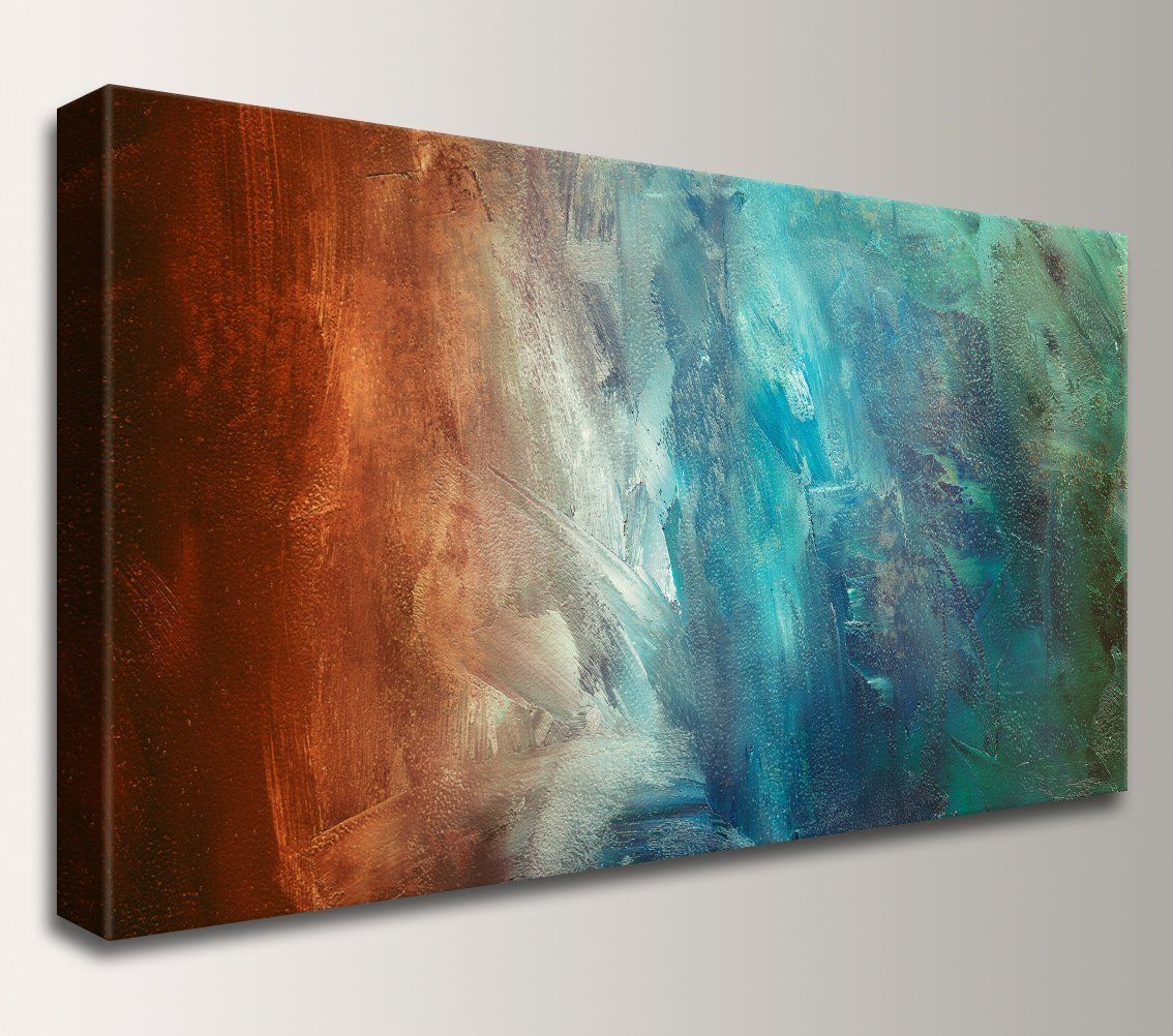 Reflection Teal And Rust Abstract Painting Canvas Wall Art Print See This Great Product It Panoramic Art Abstract Canvas Painting Large Canvas Wall Art