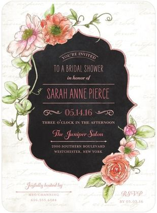 Refined Blossoms - Signature White Bridal Shower Invitations - Lady Jae - Princess - Pink : Front