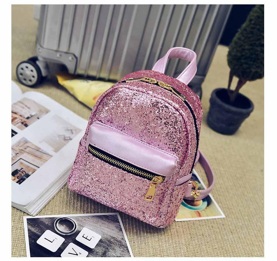 Women Leather College School Backpack Sequins Racksack Shoulder Satchel Handbag