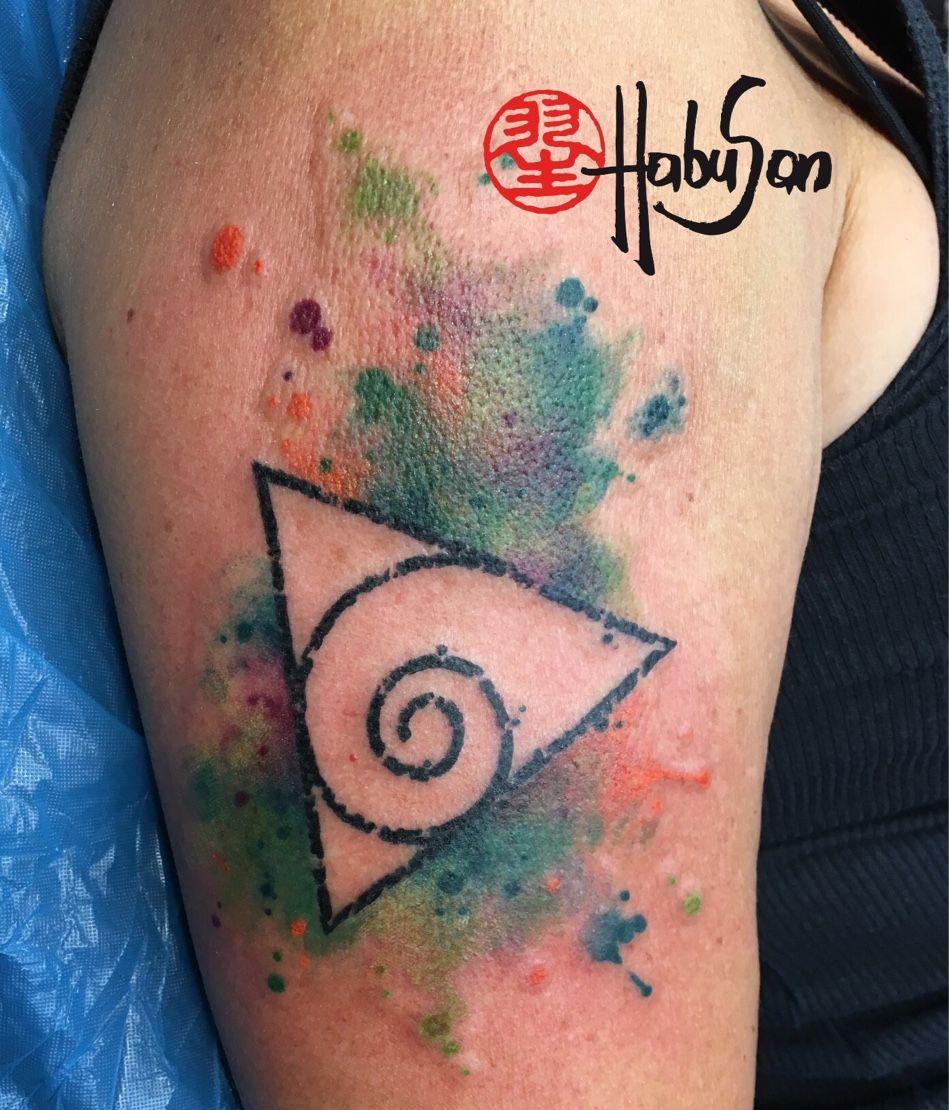 dreieck mit spirale und watercolour hintergrund danke liebe bergid tattoo habusan wien. Black Bedroom Furniture Sets. Home Design Ideas