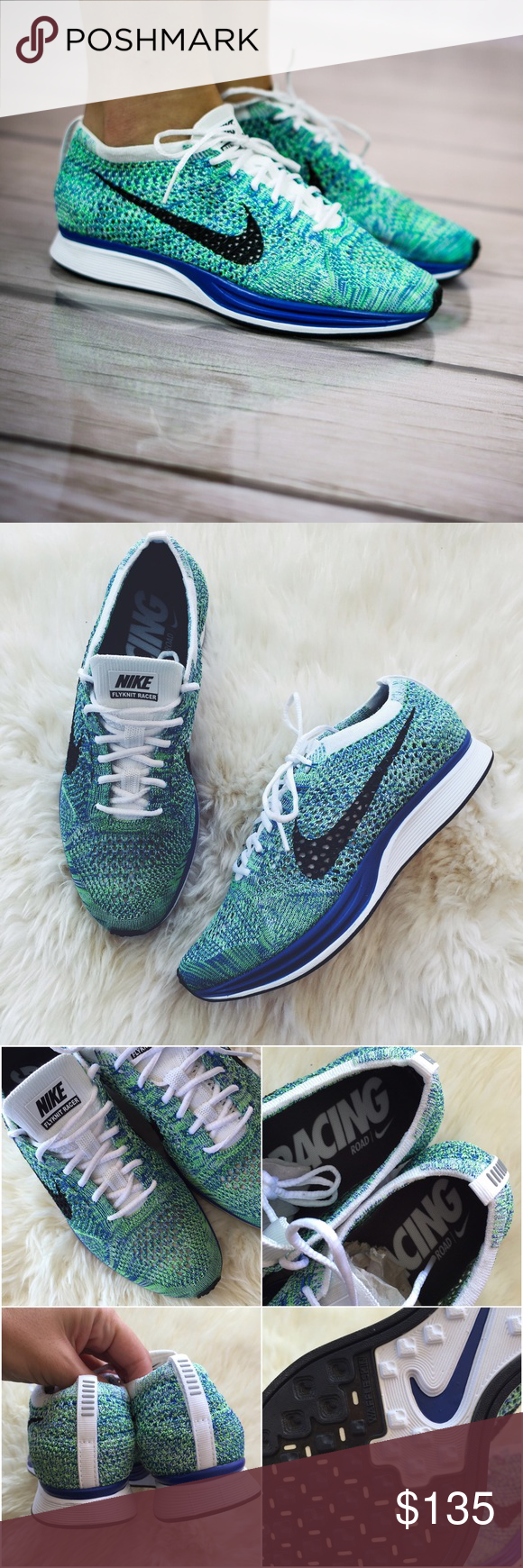 Nike Flyknit Racer Sneakers •Flyknit racer sneakers, tranquil edition.  •Unisex sizing: Women's 7 = Men's 5.5  •New in box (no lid).  •NO TRADES/HOLDS/PAYPAL/MERC/VINTED/NONSENSE. Nike Shoes Sneakers