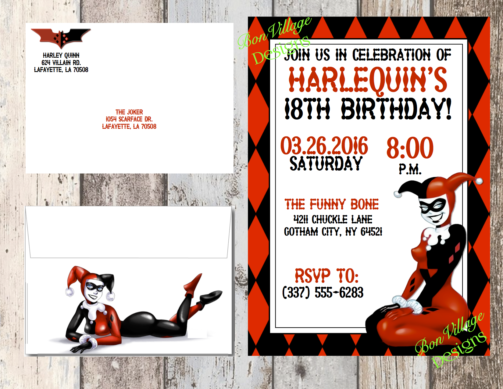 Harley Quinn Invitation Birthday Baby Shower DC ics Digital