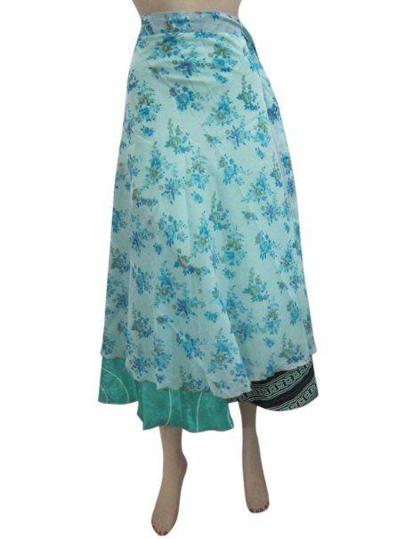 Amazon.com: Mogulinterior Wraparound Skirt Printed Two Reversible Layer Silk Wrap Skirts Dress: Clothing