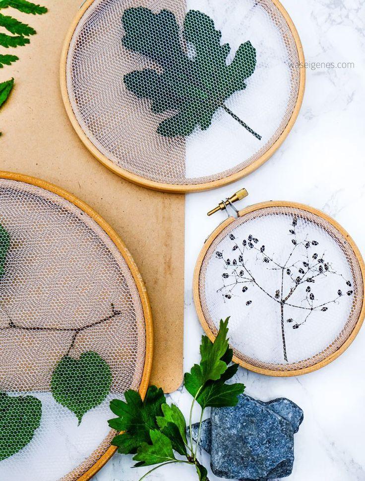 Alles im Rahmen! Getrocknete Blätter im Stickrahmen. Pflanzen Deko ...