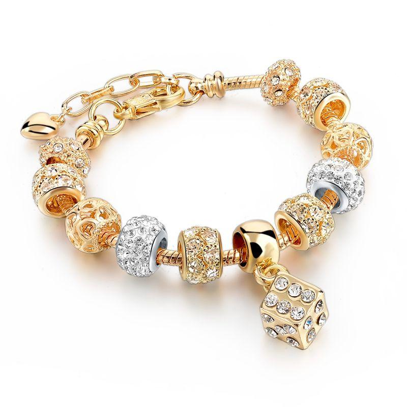 Girl Women Silver plated Love Hearts pdora Crystal glass Charms Bead Bracelet