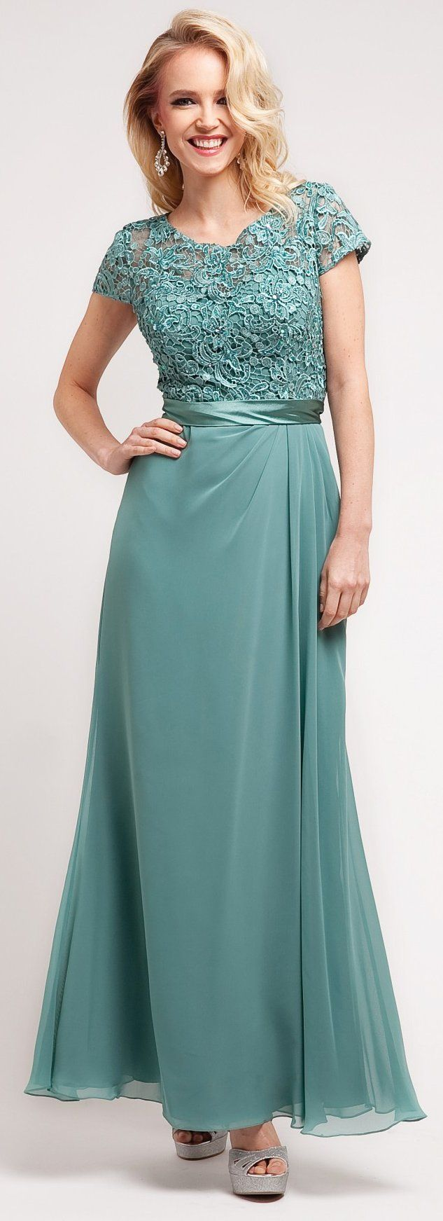 Mother of Groom Sage Green Dress Long Short Sleeve Lace Top | Sage ...