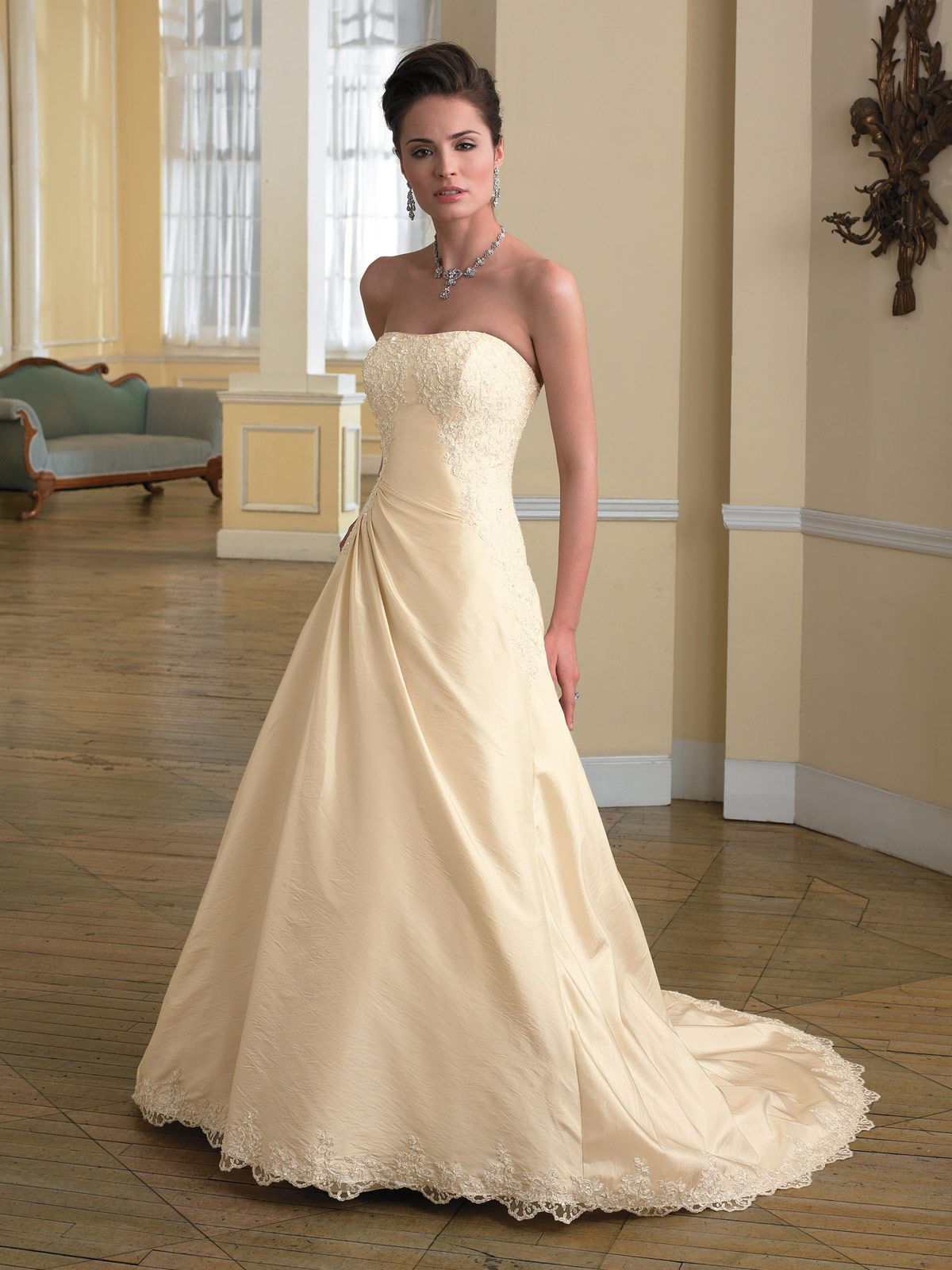 Style No €� Y2725 Heather Description Strapless Taffeta And Lace Slim Aline Gown Side Draped Skirt With Trim Corset Back Bodice Chapel Length: Taffeta Lace Wedding Dress Look No At Reisefeber.org