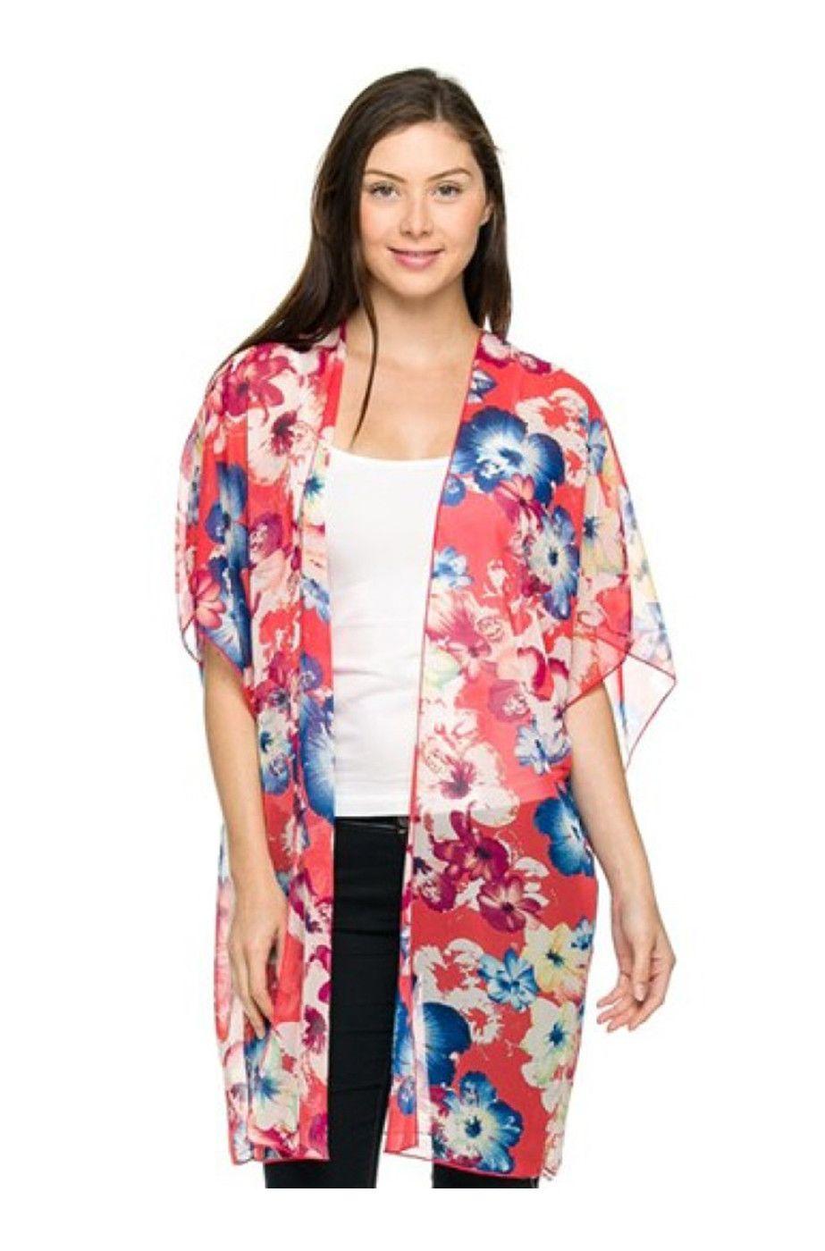 Coral & Blue 3/4 Sleeve Floral Print Kimono Cardigan | Cute Kimono ...