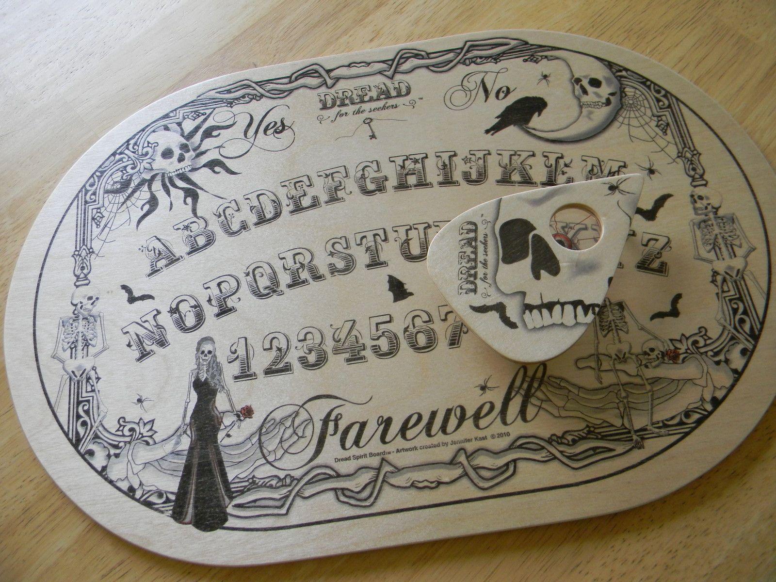 "Wood ""DREAD"" Spirit Board and Planchette 037 Ouija Talking"