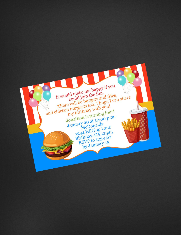 Fast Food Birthday Invitation McDonalds Inspired Invitation