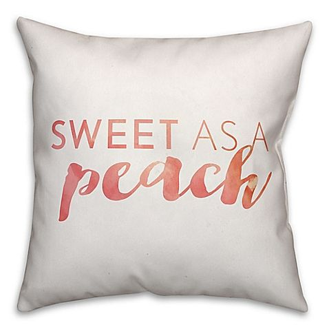 "Designs Direct ""Sweet as a Peach"" Square Throw Pillow in Orange"