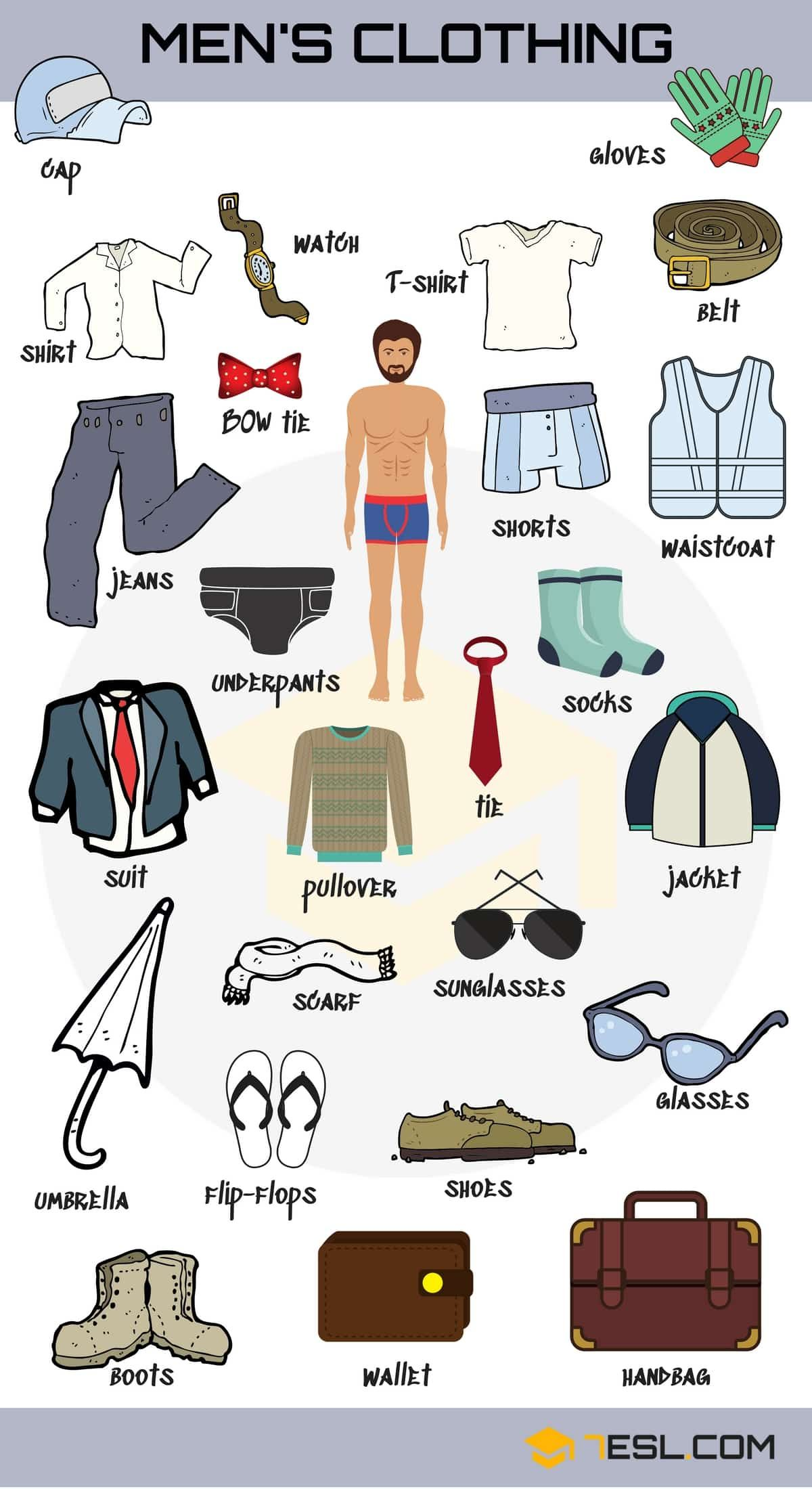 Types Of Clothing Learn Clothes And Accessories Vocabulary In