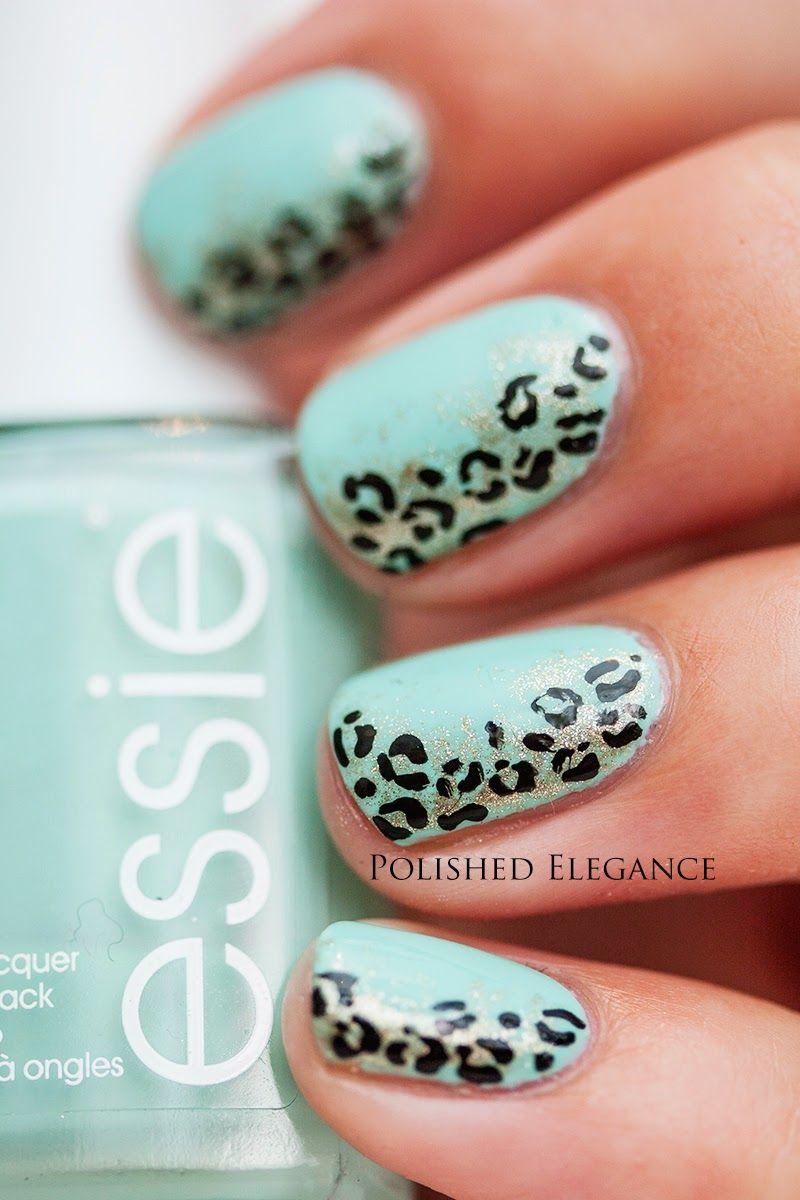 Mint gold black leopart nail art manicure mint leopard nail art ...