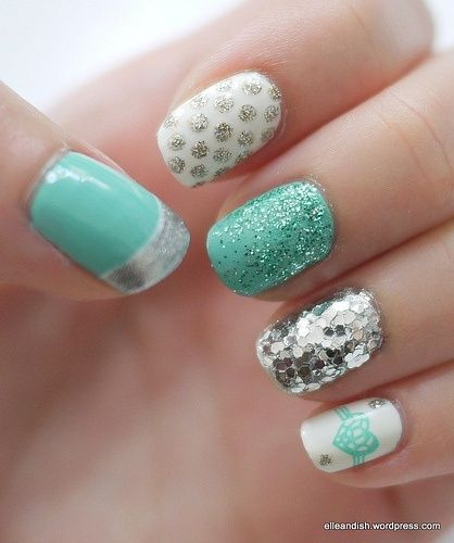 Turquoise, white, silver nails