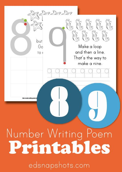Learn to Write Numbers: Eight and Nine | Learning, Number formation ...