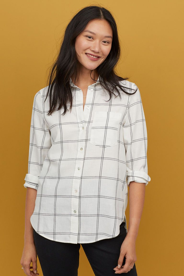 Simply Be Womens Check Shirt with Dipped Hem