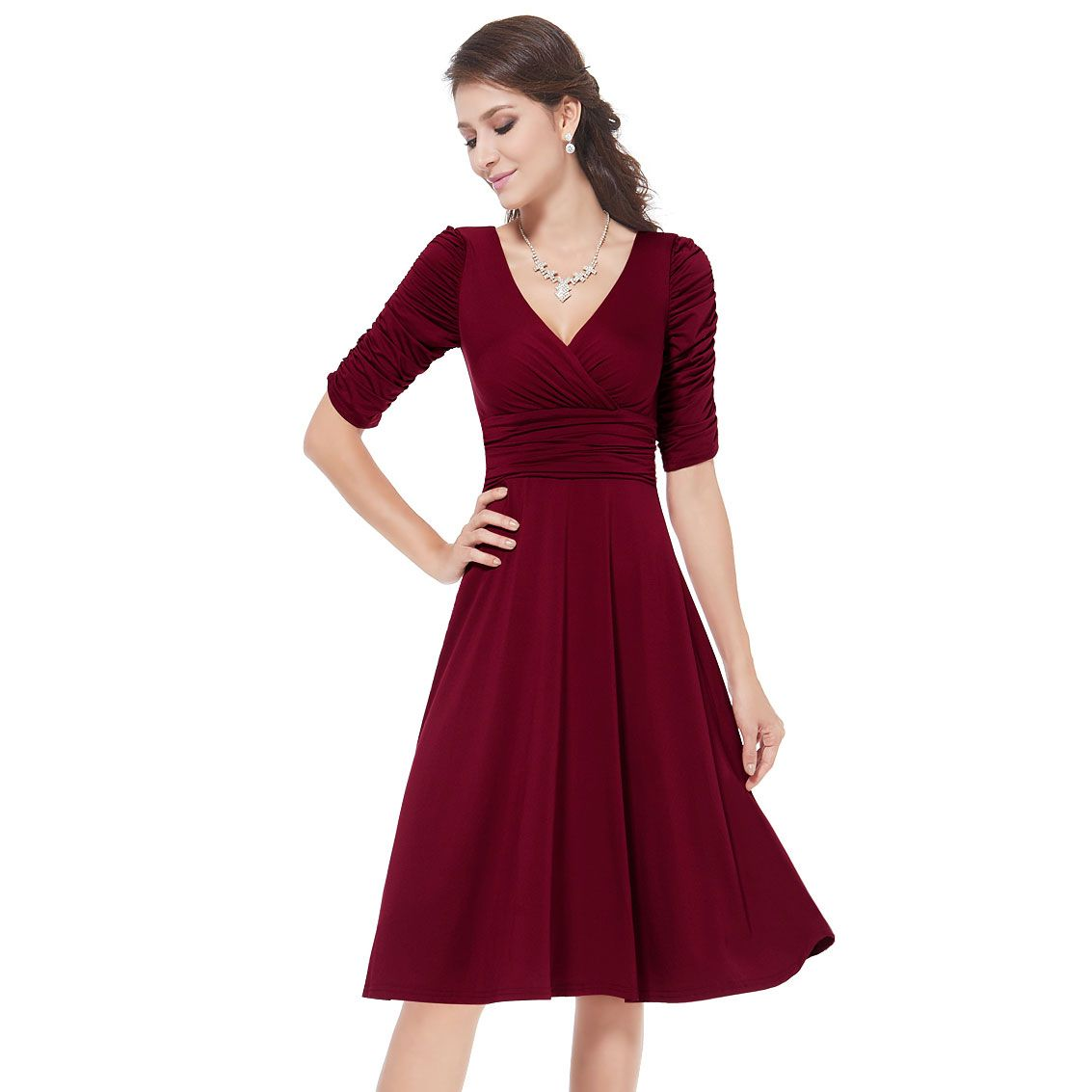 Ever-Pretty Ever Pretty 3/4 Sleeve Ruched Waist Classy V-Neck Casual Cocktail Dress 03632 - Clothing, Shoes & Jewelry - Clothing - Women's Clothing - Women's Dresses