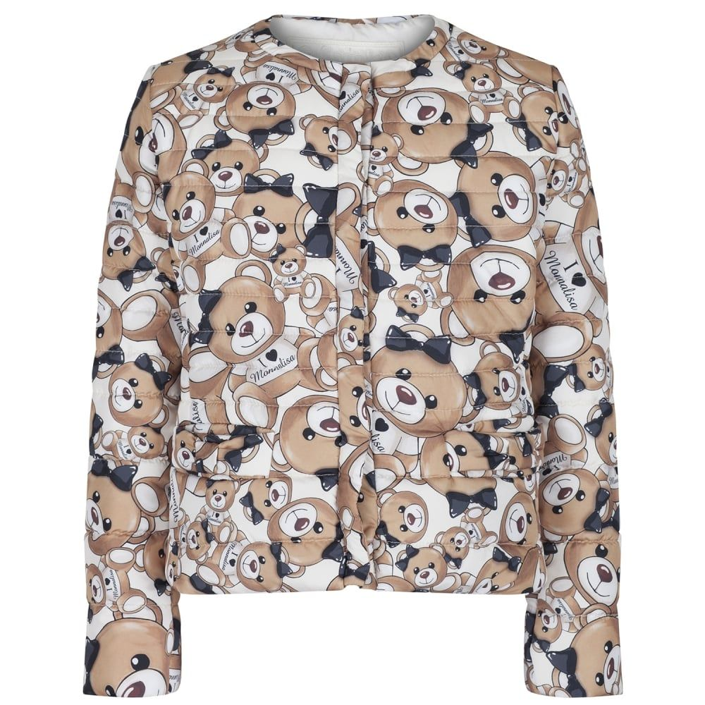 0c8367691f272 Monnalisa Girls Beige Puffer Jacket with All-Over Teddy Bear Print ...